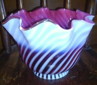 Antique/vintage Cranberry Swirl Opalescent Glass Light Shade