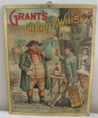 Antique Grant's Cherry Whisky Tin Litho Advertising Sign Wedekind & Co London