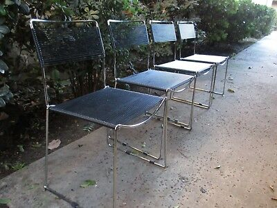 (4) Mcm Vintage Vinyl Rope And Chrome Indoor/outdoor Dining /side Chairs