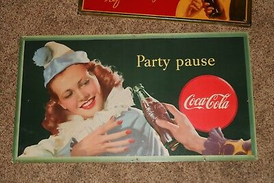 1947  Coca Cola Cardboard  Sign   Party Pause    Female Clown