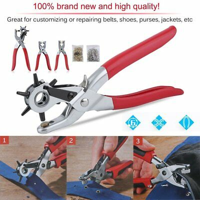 3pc Leather Belt Hole Punch + Eyelet Plier + Snap Button Grommet Setter Tool TO