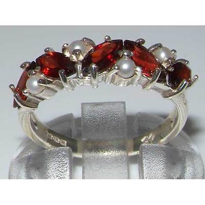 14k White Gold Natural Garnet & Cultured Pearl Womens Eternity Ring