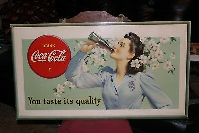 1942  Rare Coca Cola Cardboard  Sign   You Taste Is Quality   Great Condition