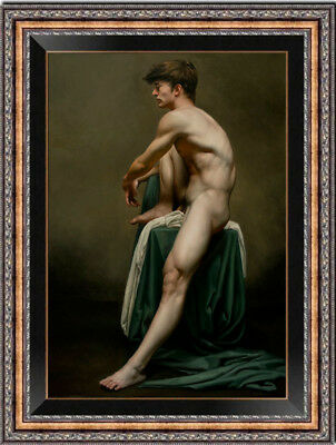 "Hand-painted Original Oil painting art gay young male nude on Canvas 24""X36"""