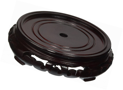 Oriental Furniture Rosewood Carved Pedestal Stand - (Size 4.5 in. Base Diameter)
