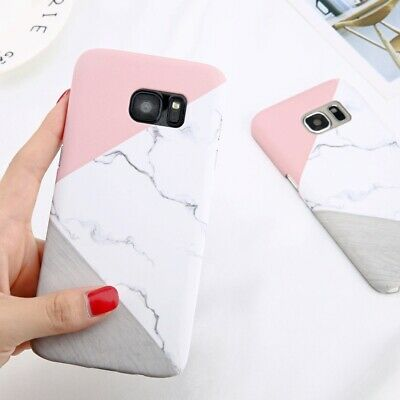 Ultra-Thin Shockproof Granite Marble Contrast Color Hard PC Phone Case Cover