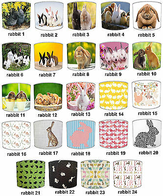 Children`s Rabbits Designs Lampshades Ideal To Match Rabbits Cushions & Covers.