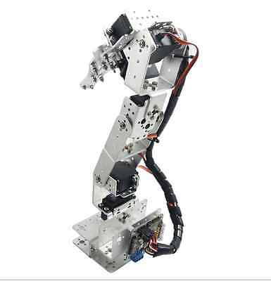 ROT3U 6DOF Aluminium Robot Arm Mechanical Robotic Clamp Claw for Arduino Silver