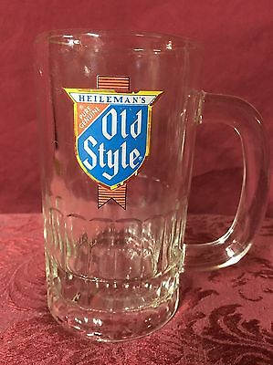 "1970-80's Vintage Heileman's Old Style 6"" Glass Beer Drinking Handle Mug Stein"