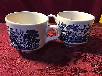 Pair of Churchill Blue Willow Glass Coffee/Tea Cups Made In England SHIPS NOW!