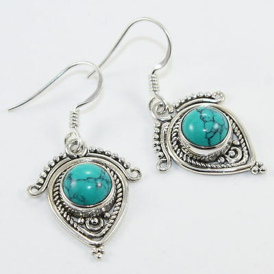 925 Sterling Silver Handcrafted Fine Earring Turquoise Stone 1.4''