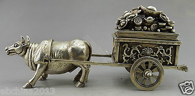 Collectible Decorate Old Handwork Tibet Silver Cattle Carry Money Car Box Statue