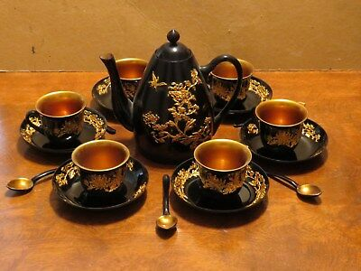 Vintage Chinese Lacquer Black & Gold Floral Teaset - Teapot w/ service for 6