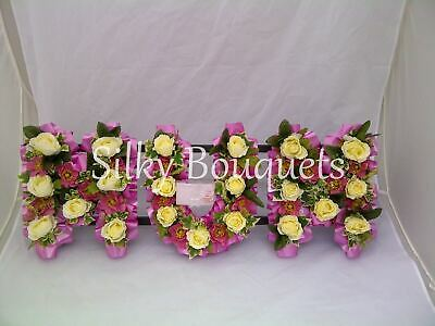 Mum Artificial Silk Funeral Flower Any 3 Letter Name Open Design Wreath Tribute