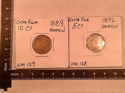 Lot Of 2 Silver Coins Costa Rica Low Mintage (1892: 280,000 & 1889: 215,000)  *