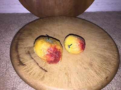 Early Antique Italian Alabaster Stone Fruit Lot of 2 Early Strawberries