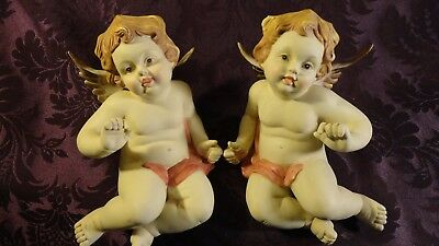 Vtg Large Pair Of Porcelain/bisque Sitting Nativity ? Cherub/angels Hand Painted