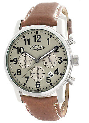 Rotary Men's Grey Dial Brown Leather Strap Chronograph Watch GS00430/31