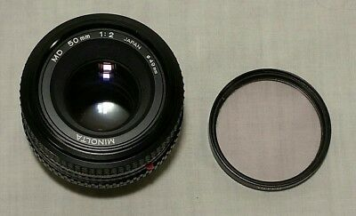 Minolta Md 50Mm 1:2 Camera Lens, Made In Japan, With Tiffen 49Mm Sky-1A