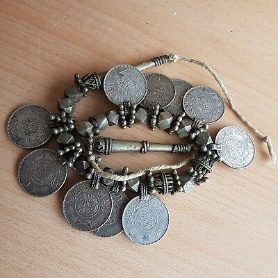 27# Old Rare Antique Islamic Saudi Necklace with Silver Coins