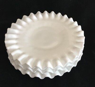 Lot of 3 Vintage Fenton Hobnail White  Milk Glass Saucers / Plates Crimped Edge