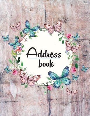 Address Book: Large Print - My Address BookFloral and Wooden Style Design - With