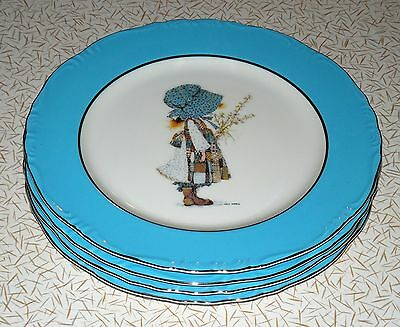 "Lot Of 4: 1973 Holly Hobbie Blue Girl Platinum Silver Trim 10 3/8"" Dinner Plates"