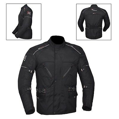 Black Men's Motorcycle Motorbike Jacket Waterproof Textile CE Armoured