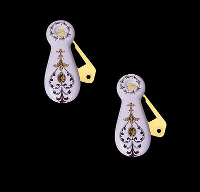 1 Pair White Porcelain Ceramic Key Hole Escutcheon Cover With Diasy Chain Design