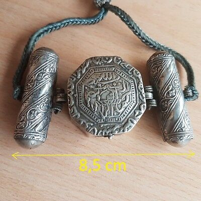 32# Old Rare Antique Islamic Ottoman Turkish Silver Amulet w. Arabic Calligraphy