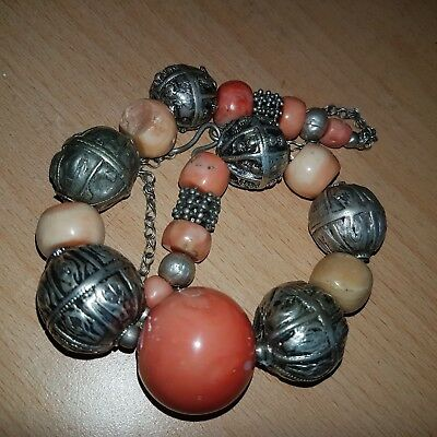 34# Old Rare Antique Yemeni Sliver Necklace with Old Angel Skin Coral Beads