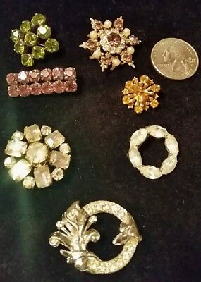 Lot Of 7 Antique & Vintage Jewelry Brooches Victorian Pins