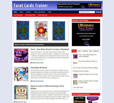 Tarot Cards Website & Blog With Uk Affiliate Store + Banners With Free Domain