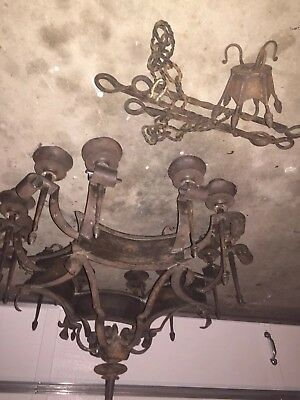 Antique VIntage Spanish Revival Wrought Iron 12 Light Candelabra Chandelier