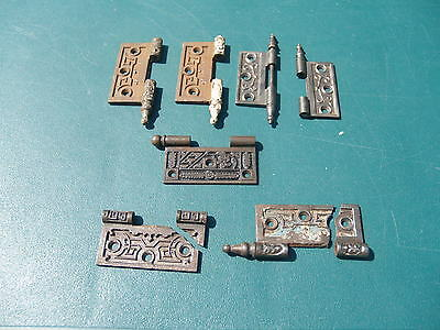 Lot Of 7 ** Vict & East Lake ** Fancy, Cast Iron Hinge Parts * Circa 1870 -1895