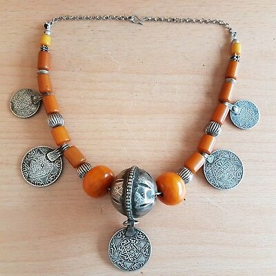 41# Old Rare Antique Islamic Moroccan Sliver Necklace with Old Amber Bakelite Be