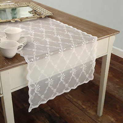 Runner Pizzo Poliestere Shabby chic Poly-Astre Collection Colore Bianco