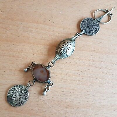 45# Old Antique Islamic Moroccan Berber Silver Fibula Agate Tribal, Africa