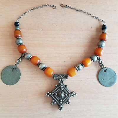 46# Old Rare Antique Moroccan Berber Necklace with Amber Bakelite Beads