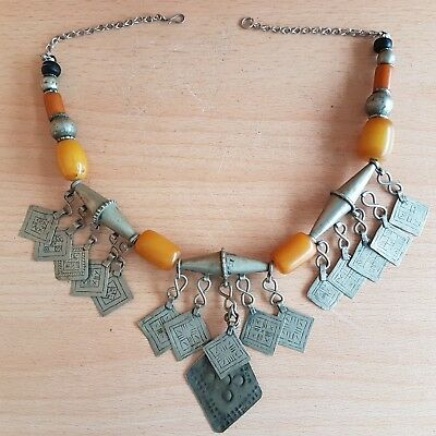 47# Old Rare Antique Moroccan Berber Necklace with Amber Bakelite Beads