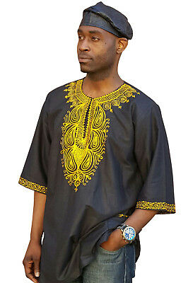 Black African Dashiki Shirt with Gold Shirt from S to 7XL Plus Size DP3781M