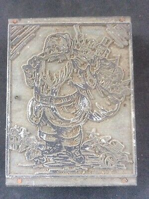 c19th Woodcut Wooden printing block Father Christmas Xmas Santa Sack of Presents