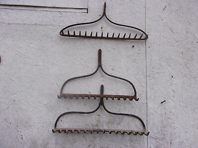 3 Vintage Old Primitive Rustic Rake Head Lot Rusty Farm Find Jewelry Craft Metal