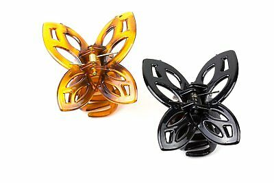 Girls Butterfly Hair Claw Clips Cut Out Butterfly Top Twin Pack 1 Black 1 Tort