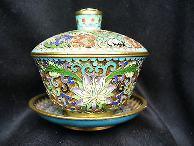 Antique Chinese Cloisonne and Gold Gilt Covered Cup and Saucer