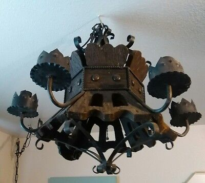 Vintage 6 Arm Wrought Iron Hanging Chandelier Architectural Gothic