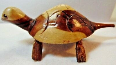 Carved Wood Turtle Figure Stained Two Tone Brown and Tan Miniature