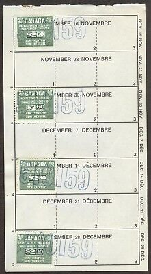 Stamps Canada Unemployment Insurance Collection, lot of 6 used stamps on 1 card
