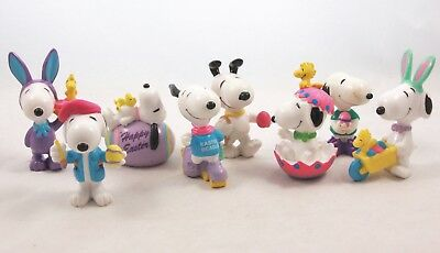 "Vintage Set of Eight Peanuts Snoopy ""Easter"" PVC Figurines."