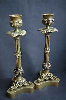 Pair of Antique Silver Brass Bronze Candlesticks